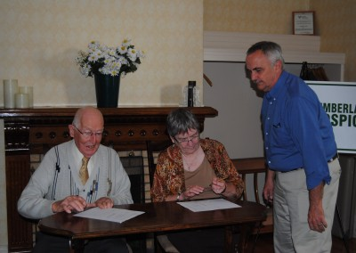 Harold Lusby & Gerry Helm signing MOU with Ken Agar