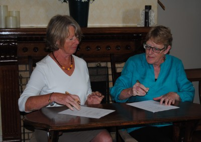 Linda & Beth Lusby at the signing of the MOU